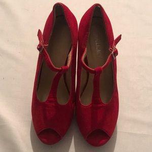 Red open toe wedge heel 💄💋🔥